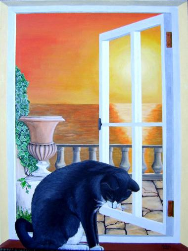 Katze im fenster acryl auf leinwand 60x80 cm for Fenster 40x60